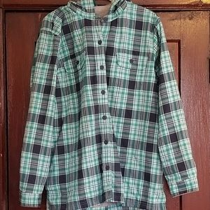L.L. Bean fleece lined hooded plaid men's size XL